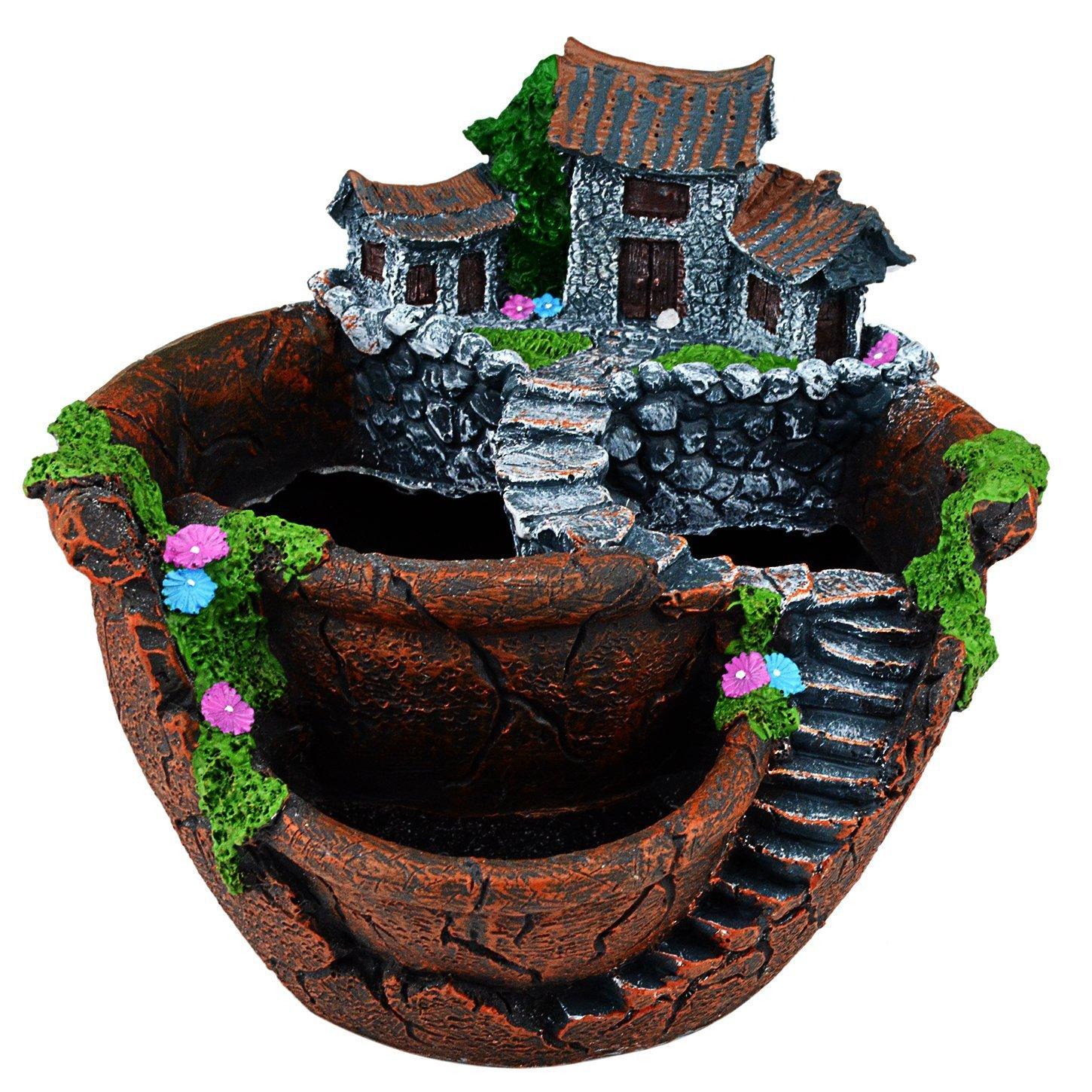 cnomg Pot Creative Plants DIY Container Pot Mini Fairy Garden Flower Plants and Sweet House for Decoration, Holiday Decoration, Indoor Decoration and Gift (Brown)