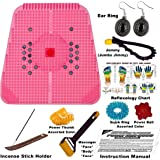 """Super India Store Power Mat 2000-Magnetic n Acupressure Pyramids Mat for Pain Relief - 12 x 12.5"""" with Su-Jok Ring and Acupressure Reflexology Chart"""