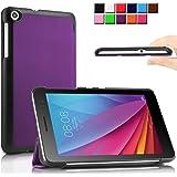 Infiland Huawei 7インチ タブレット カバーMediaPad T1 7.0 専用保護ケース 超薄型 超軽量 三つ折りスタンドカバー 高級PU レザーケース(パープル)