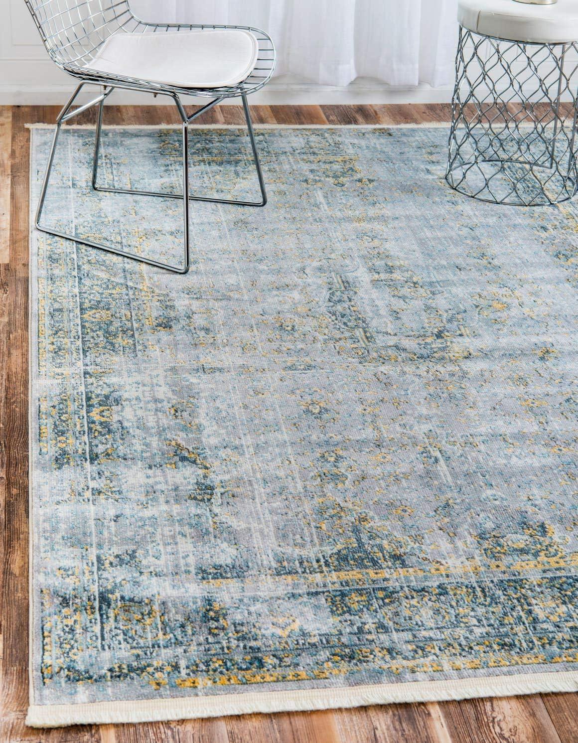 Unique Loom Baracoa Collection Bright Tones Vintage Traditional Gray Area Rug 8 4 x 10 0