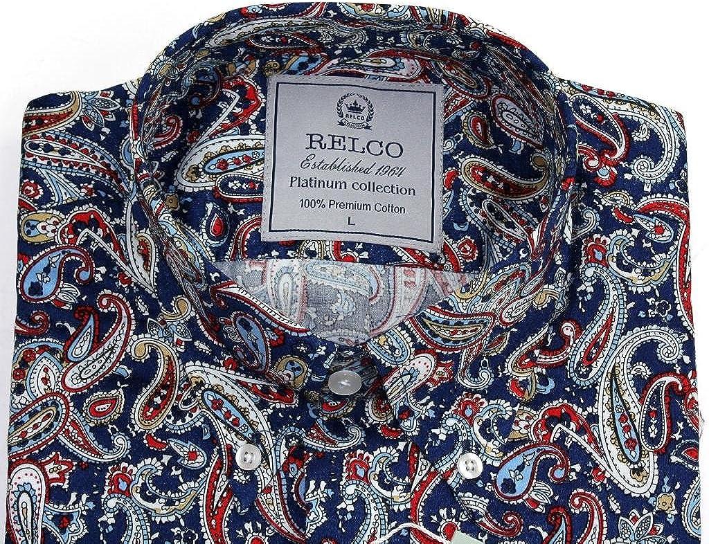 Camisa de manga larga Relco para hombre, azul marino estampado, 100% algodón azul azul marino XX-Large: Amazon.es: Ropa y accesorios