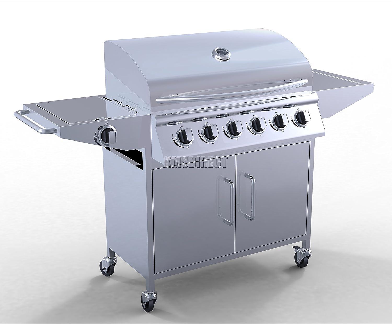 FoxHunter - Barbecue mobile da giardino in acciaio inox con 6 grill a gas + 1 bruciatore laterale con termometro