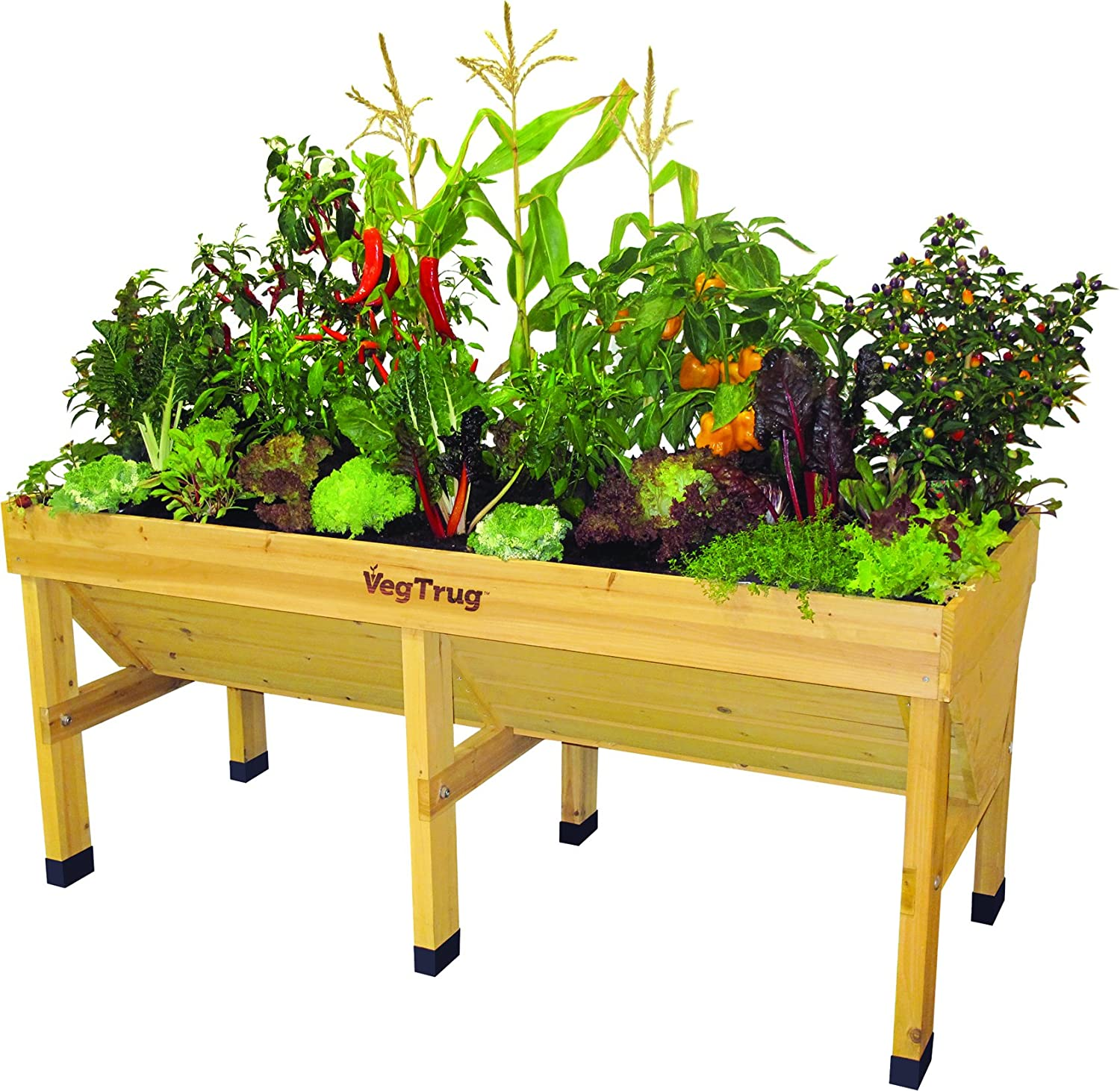 Veg Herb Flower Trug Boxes Large Raised Wooden Garden Trough Planter on Legs
