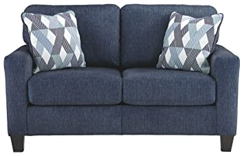 Fantastic Ashley Furniture Signature Design Burgos Contemporary Loveseat Rta Sofa In A Box Modular Assembly Navy Squirreltailoven Fun Painted Chair Ideas Images Squirreltailovenorg