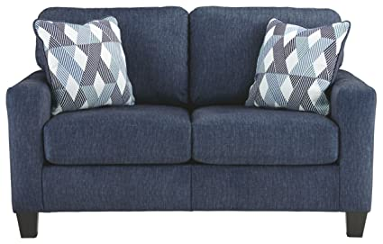 Ashley Furniture Signature Design - Burgos Contemporary Loveseat - RTA Sofa  in a Box - Modular Assembly - Navy