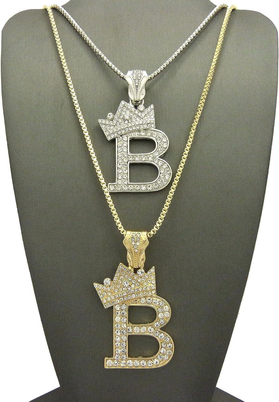 "Iced RUBY KING /'B/' PLUG PENDANT 24/"" 30/"" ROPE BOX CUBAN CHAIN NECKLACE SET 10"