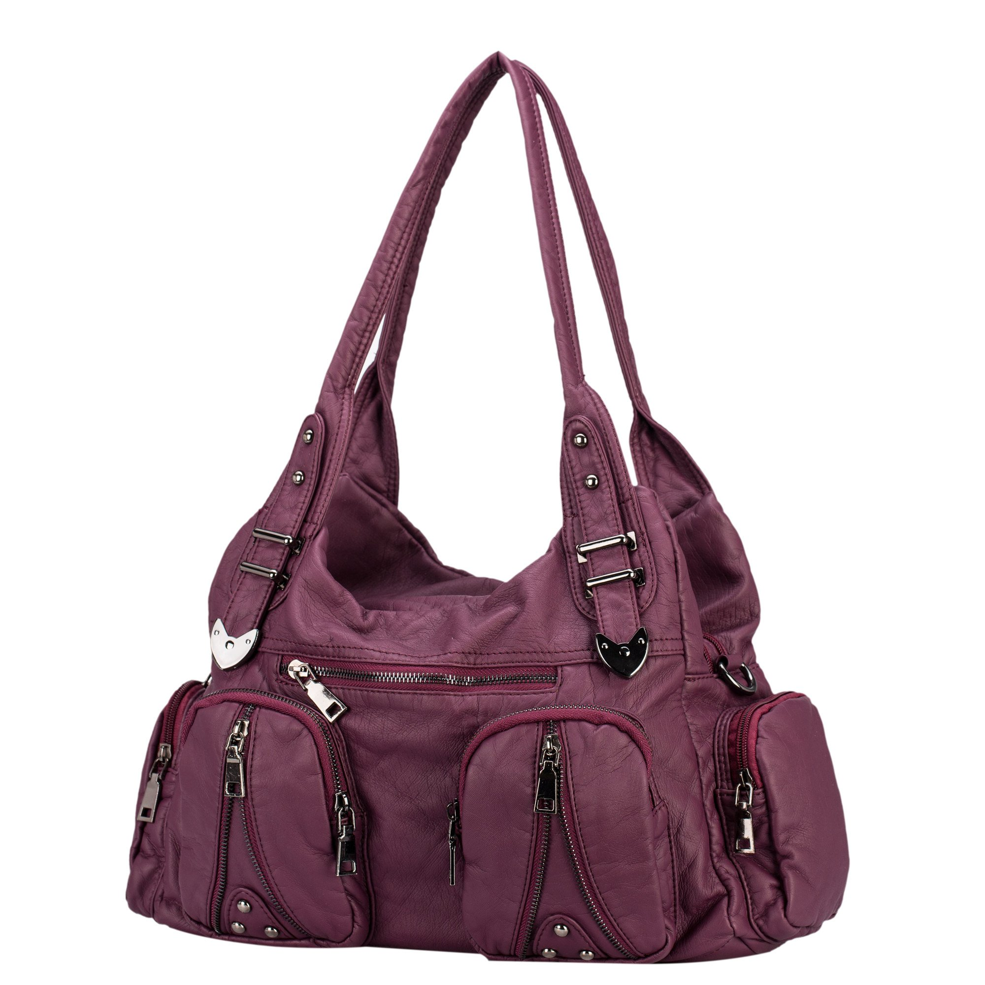 Classic Shoulder Bag Purse Soft Washed Leather Hobo Handbag Crossbody Bag for Women (purple)