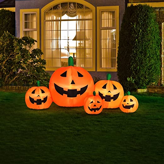 amazoncom halloween inflatable pumpkin family with flashing lights patio lawn garden - Halloween Inflatable Yard Decorations
