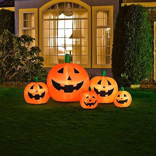 amazoncom halloween inflatable pumpkin family with flashing lights patio lawn garden - Inflatable Halloween Yard Decorations