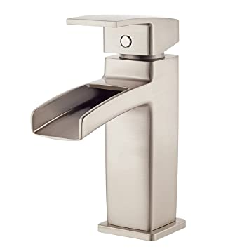 Pfister LG42DF0K Kenzo Single Control Waterfall 4 Inch Centerset Bathroom  Faucet In Brushed Nickel, Water