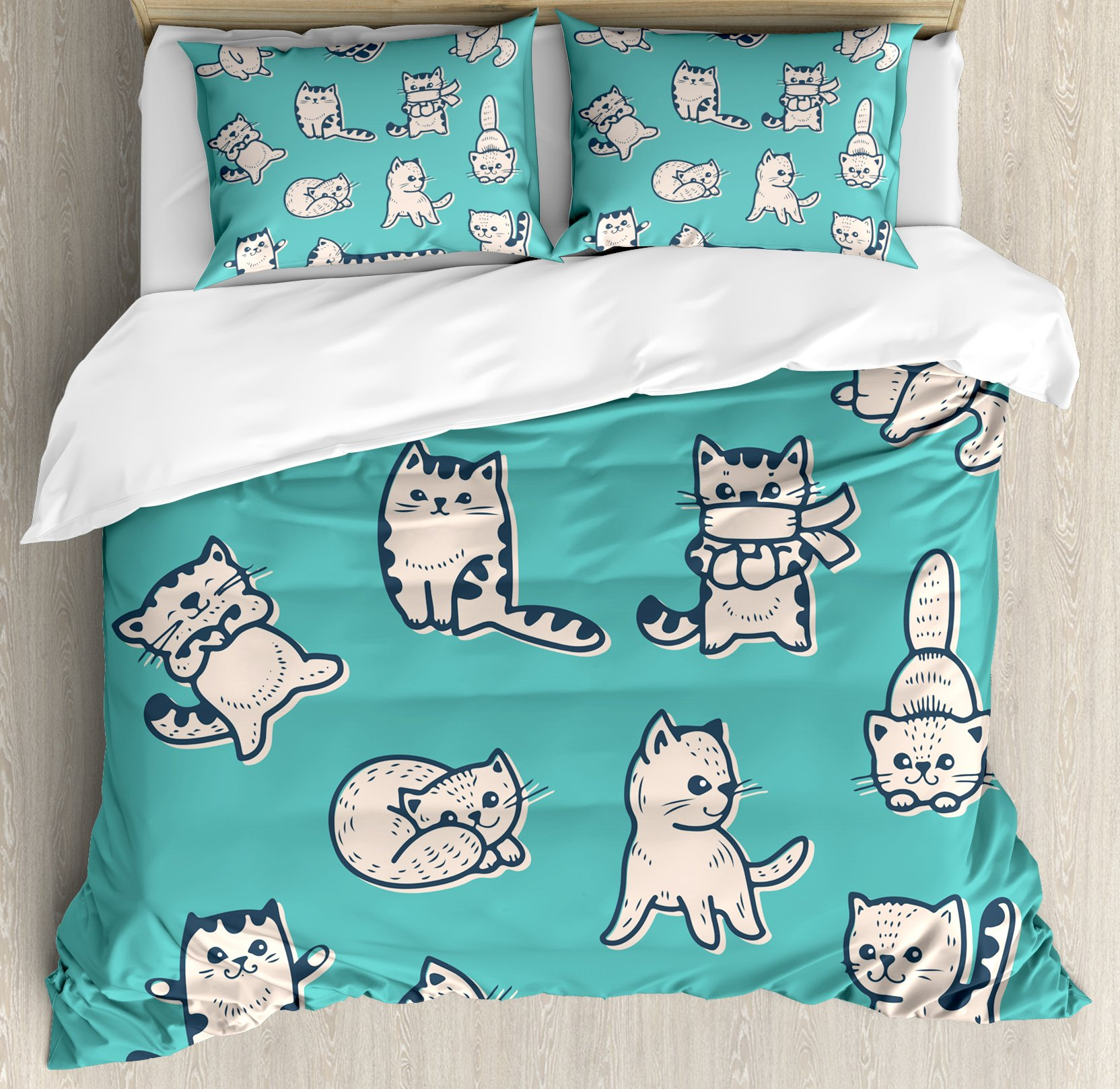 Funny Duvet Cover Set Queen Size by Ambesonne, Cute Kitties in Various Gestures Sleeping Playful Babyish Cat Animal Illustration, Decorative 3 Piece Bedding Set with 2 Pillow Shams, Aqua Cream