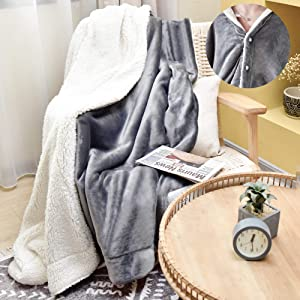 JS HOME Twin Size Wearable Sherpa Fleece Blanket Throw, Super Soft Cozy Blanket for All Season, Luxury Lightweight Plush Warm Blanket, Flannel Microfiber Blankets for Couch, Sofa, Bed, Grey, 60