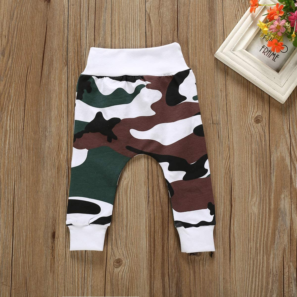 Camouflage Pants Hat Outfits Set i-Auto Time Newborn Baby Boy Clothes Little Man Deer Printed Romper Tops