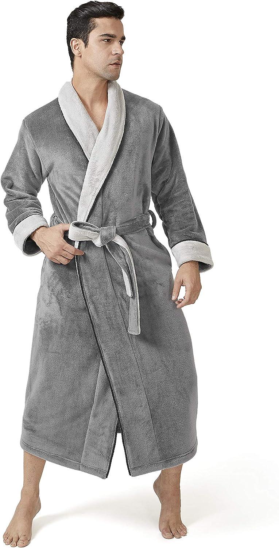 DAVID ARCHY Mens Hooded Robe Ultra Soft Plush Coral Fleece Warm Cozy Shawl Collar Long Bathrobe