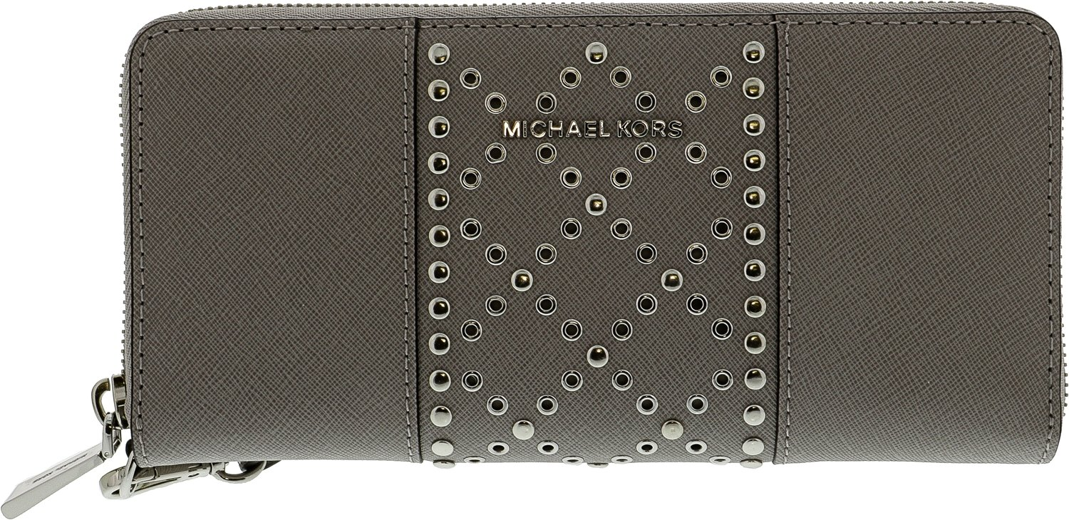 Michael Kors Studded Travel Continental Wristlet Wallet Pearl Oyster Money Pieces New