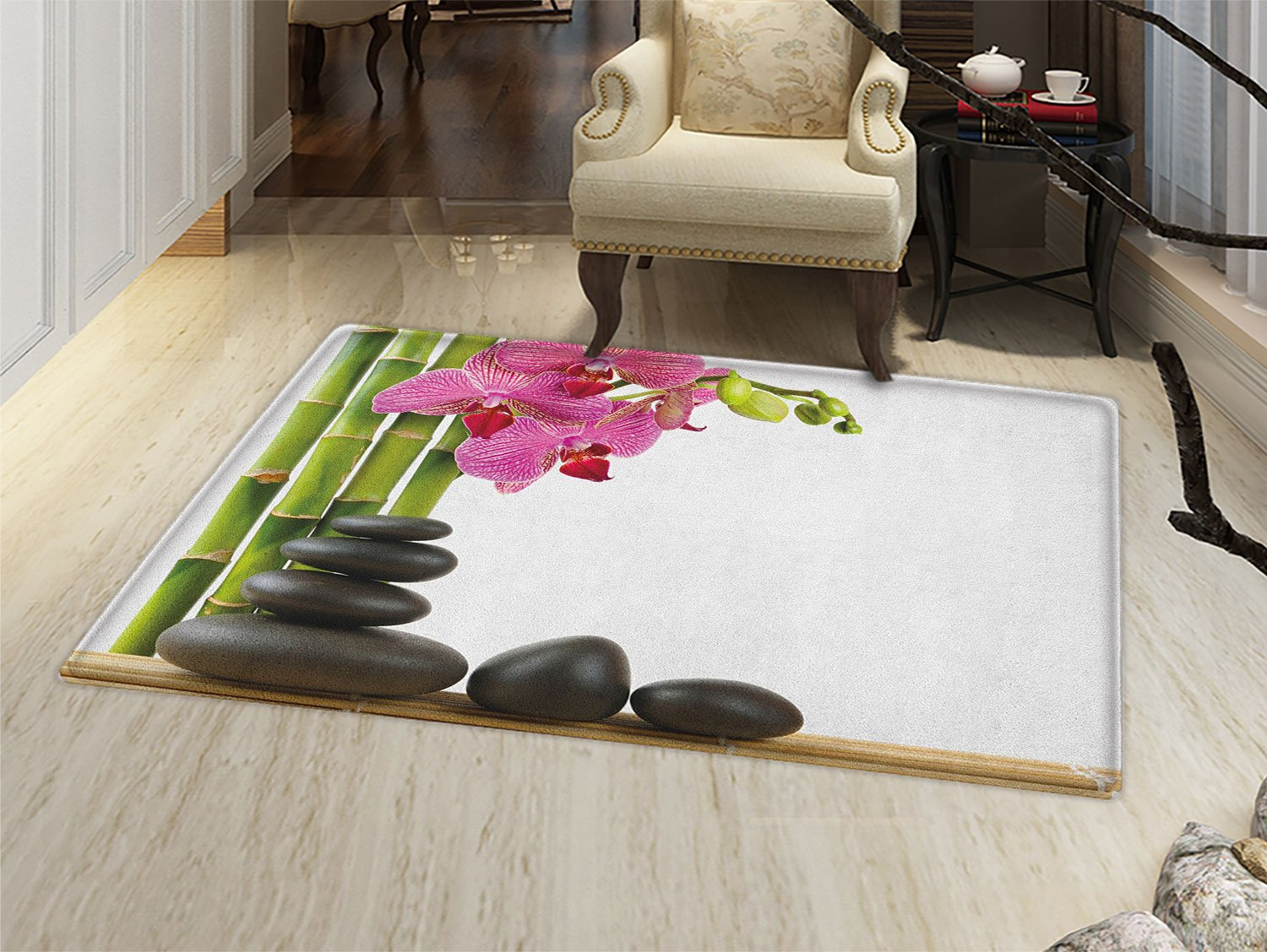 Spa Bath Mat non slip Beautiful Pink Orchid with Bamboos and Black Hot Stone Massage Image Print Customize door mats for home Mat Pink Green and Black
