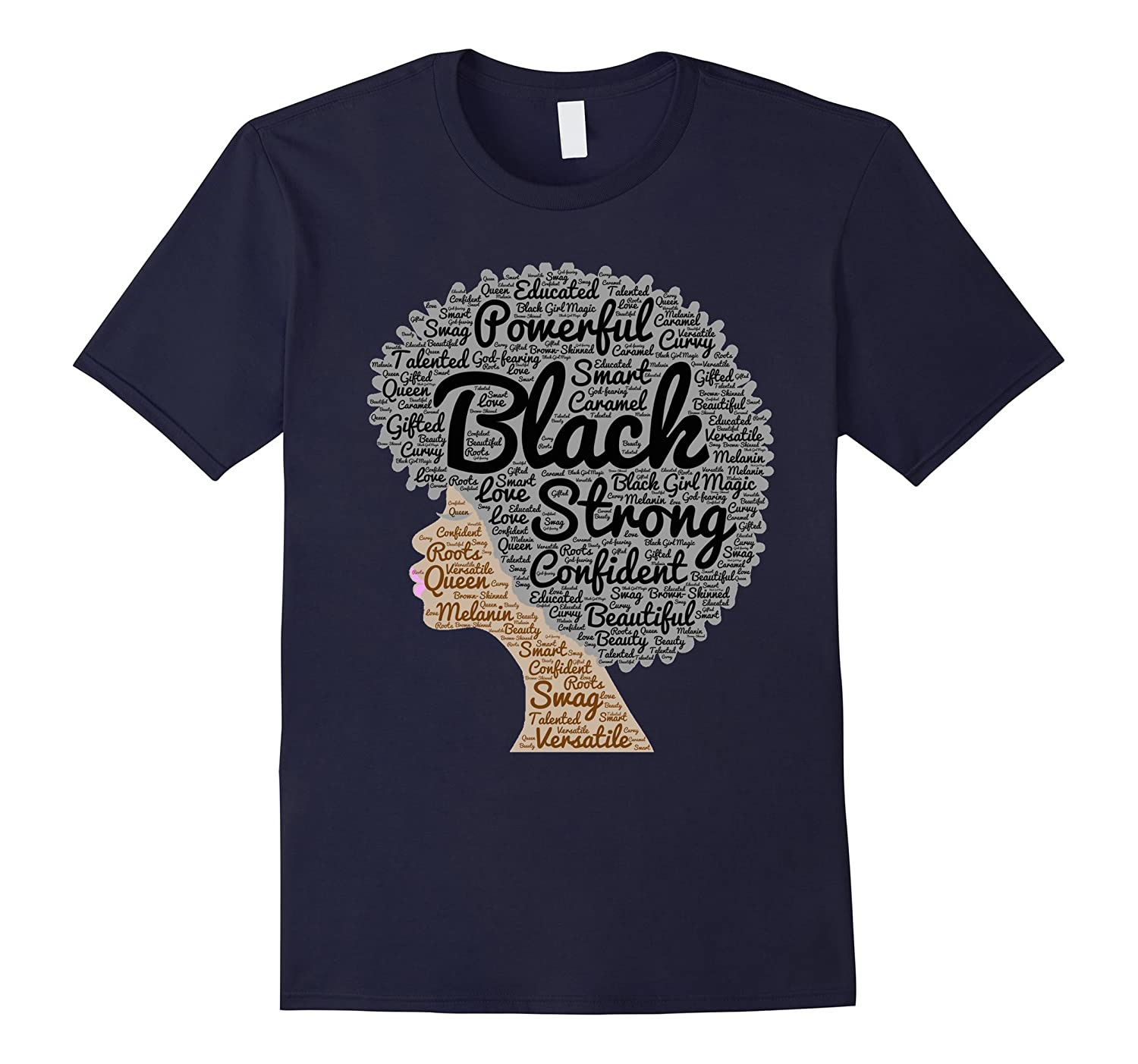 Afro Word Art Natural Hair T-Shirt for Black Women-FL