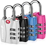 Combination Lock, Fosmon (4 Pack) Open Alert Indicator 3 Digit Combination Padlock with Alloy Body TSA Lock for Travel Bag, Suit Case, Lockers, Gym, Bike Locks - Black, Blue, Pink, and Silver
