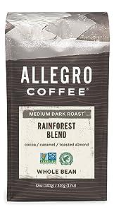 Allegro Coffee Rainforest Blend Whole Bean Coffee, 12 oz