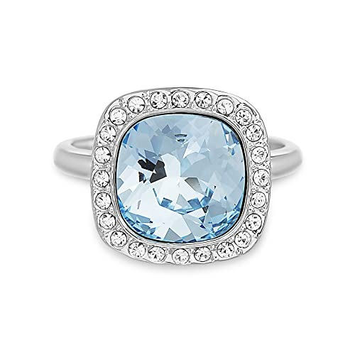 ba00bc09e Devin Rose Cushion Halo Ring for Women Made with Clear and Aquamarine Colored  Swarovski Crystal in