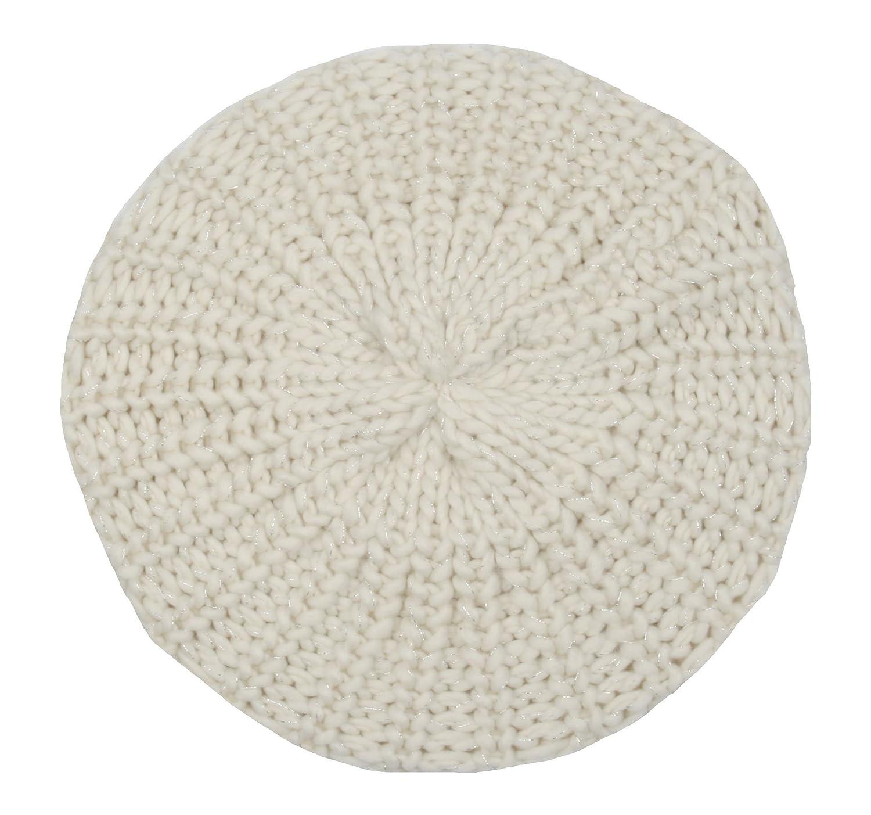 5baaf0a2a9e Girls Cream Lurex Beanie Beret Hat Age 5-12 GL070  Amazon.co.uk  Clothing