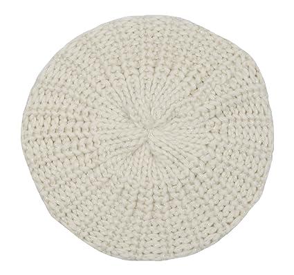 051ebcd181e Girls Cream Lurex Beanie Beret Hat Age 5-12 GL070  Amazon.co.uk  Clothing