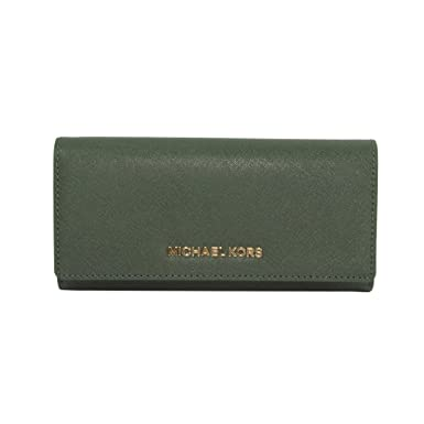 eaa605755f84 Amazon.com: Michael Kors Moss Green Saffiano Jet Set Large Carryall Wallet:  Clothing