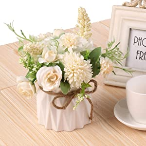 Ms Bloom Artificial Rose Bouquet with Small Ceramics Vase Silk Floral Arrangement Desk Decorations for Women Office Fake Flowers Decor for Home Table Centerpiece (White Bunny)