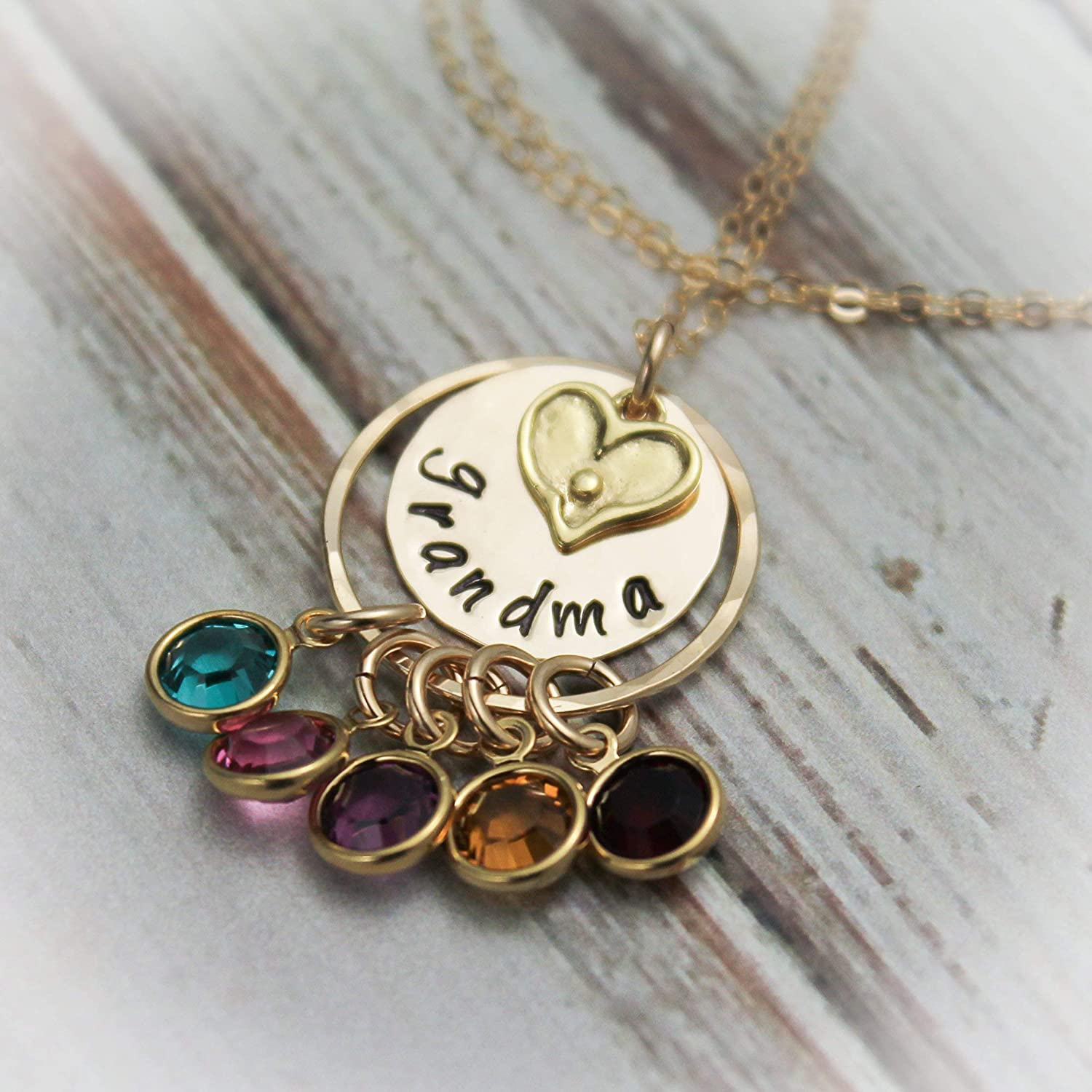 Sterling Silver or 14K Gold Filled Grammy Necklace Personalized Nana Necklace Birthstone Name Necklace Grandma Necklace with Birthstone