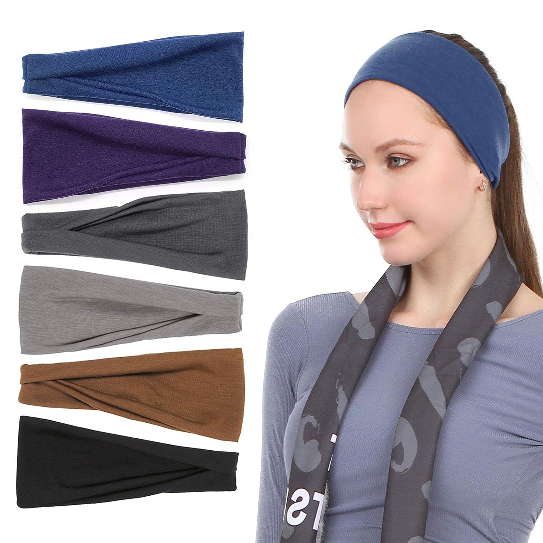 8 paquetes de diademas deportivas para correr con botones de yoga para mujeres Diademas con nudos cruzados para enfermeras Doctores Bandas el/ásticas para el cabello para ni/ñas