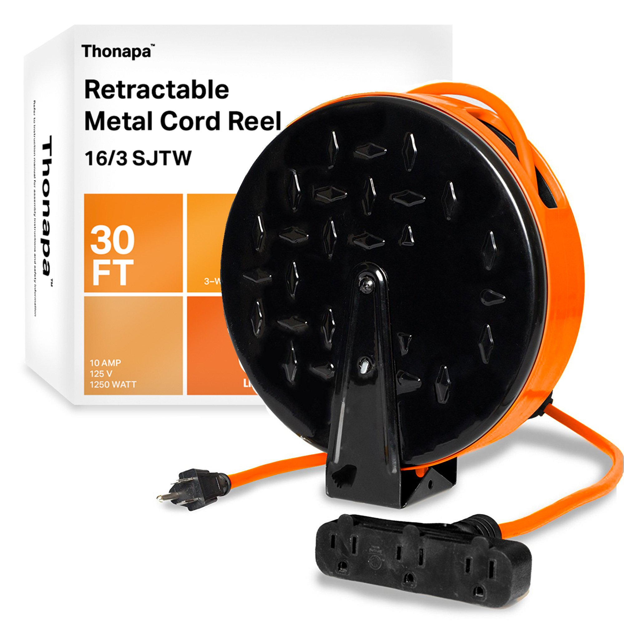 Thonapa 30 Ft Retractable Extension Cord Reel with 3 Electrical Power Outlets - 16/3 SJTW Durable Orange Cable - Perfect for Hanging from Your Garage Ceiling