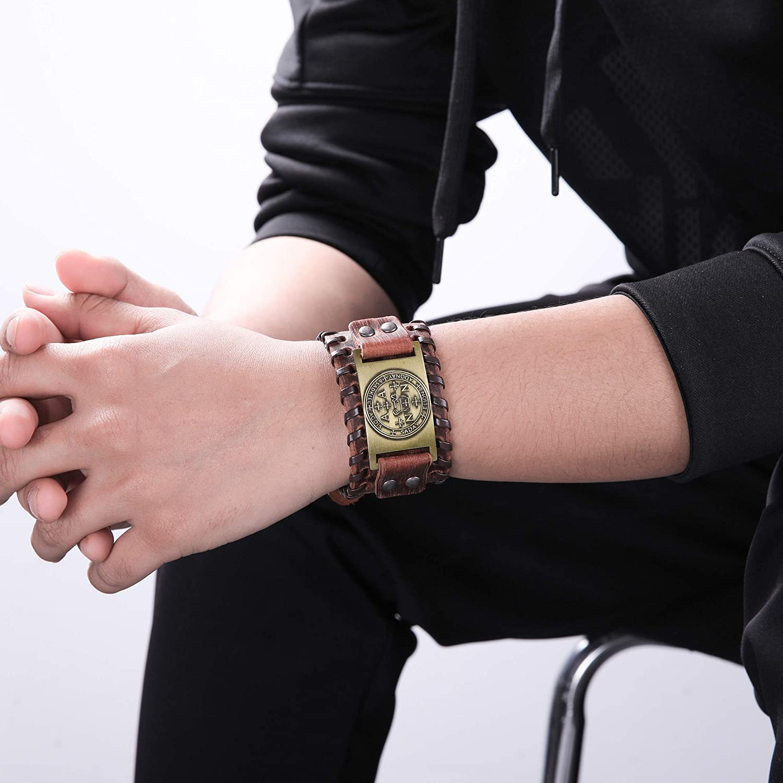 LIKGREAT The Sigil of Archangel Sadkiel Solomon Brown Leather Bracelet Bangle for Men