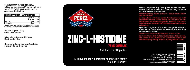 Zinc L-Histidine Complex - 75 mg - 25 mg de zinc elemental por cápsula - 250 cápsulas: Amazon.es: Salud y cuidado personal