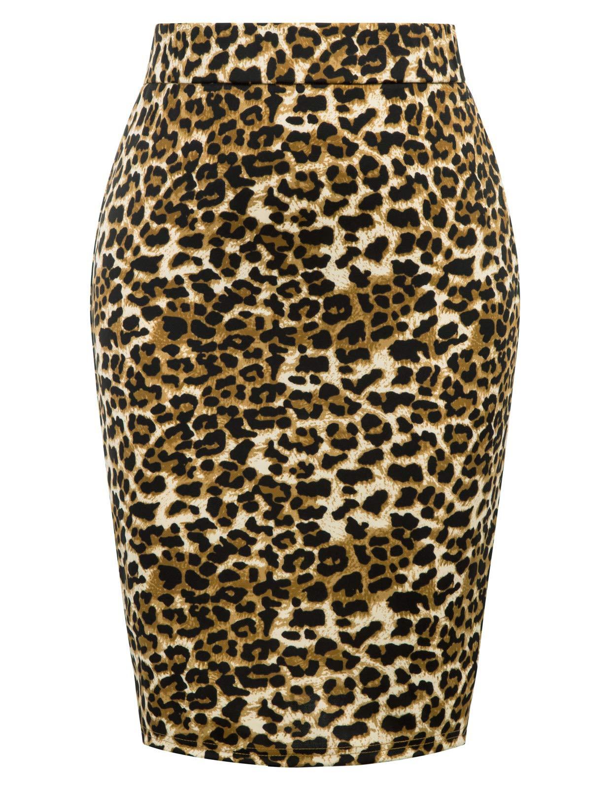 Womens Sexy Split Back Bodycon Fit Plus Size Midi Skirt Leopard Skin 16W by Hanna Nikole