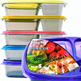 Portion Perfect Premium Meal Prep Containers/Portion Control Containers/Bento Lunch Box (Set of 5) by Perfect Portion