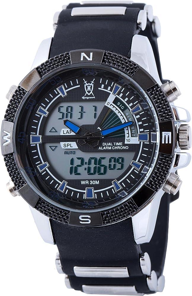 Reloj para hombre con alarma de Tiempo Dual LCD Konigswerk cronógrafo negro banda azul del deporte del ejército militar de segunda mano reloj de ...
