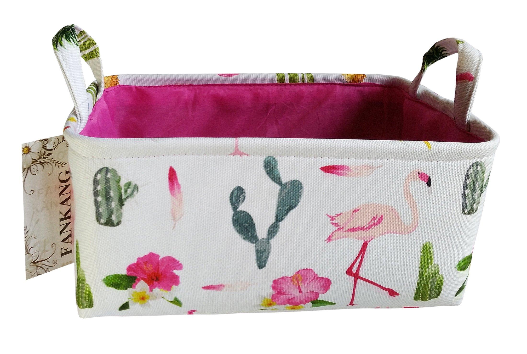 Rectangular Fabric Storage Bin Toy Box Baby Laundry Basket with Flamingo Prints for Kids Toys and Nursery Storage, Baby Hamper,Book Bag,Gift Baskets(Flamingo)