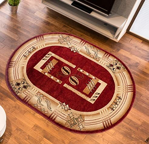 Amazon De Teppich Wohnzimmer Oval In Rot Kurzflor Muster