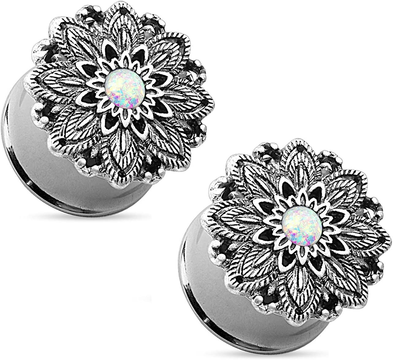 Pair of Opal Centered Antique Silver Plated Lotus Flower Top Double Flared Tunnels Ear Plug Gauges Piercings - 7 Sizes Available