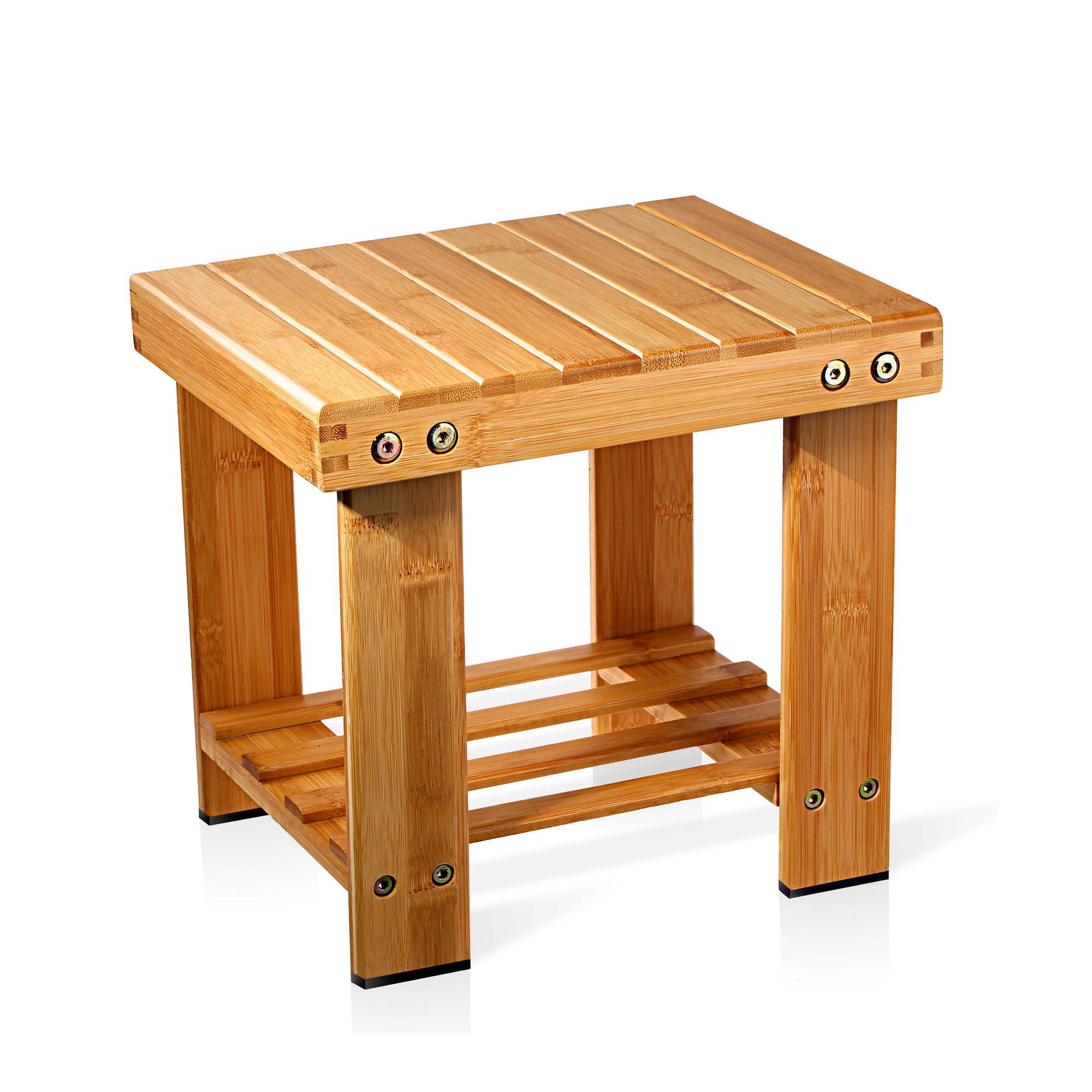 Bamboo Shower Small Seat Bench Bathroom Spa Bath Organizer Stool ...