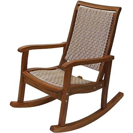 Admirable Amazon Com Outdoor Interiors Eucalyptus Rocking Chair Cjindustries Chair Design For Home Cjindustriesco