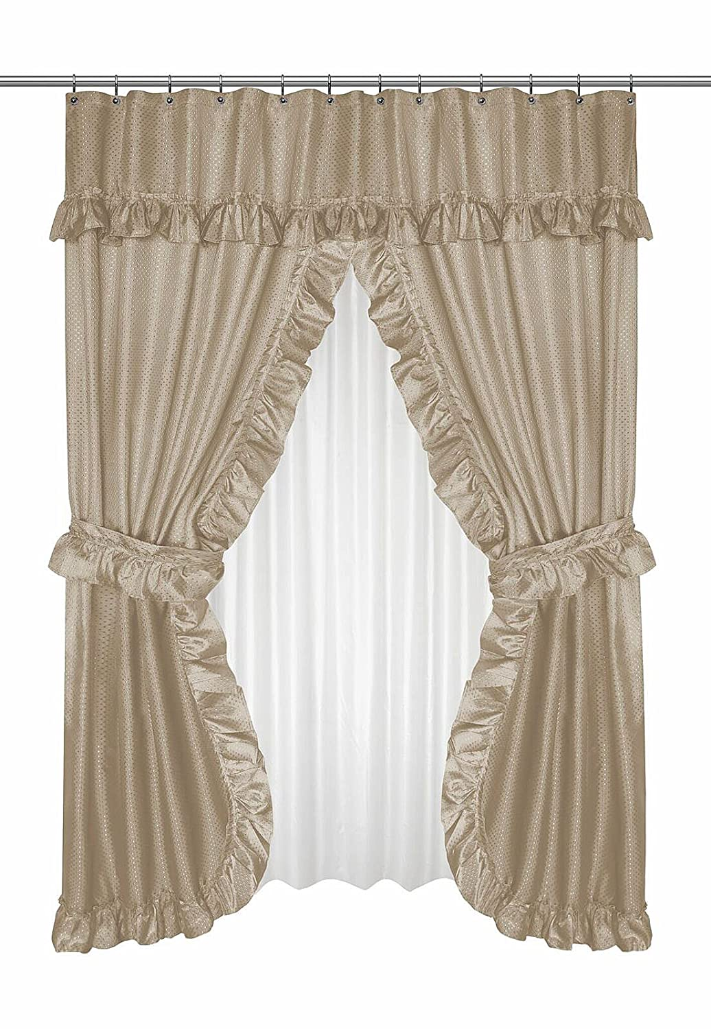 Amazon Home Bargains Plus Diamond Dot Ruffled Double Swag Fabric Shower Curtain With Valance And Liner