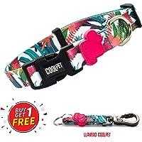 Coolpet Kit Collar para Perro + Llavero, Collares Ajustables para Mascotas para tamaños Chicos medianos y Grandes, Varios diseños, Suaves al Tacto y cómodos (2 PCS). (Tropical, Chico)