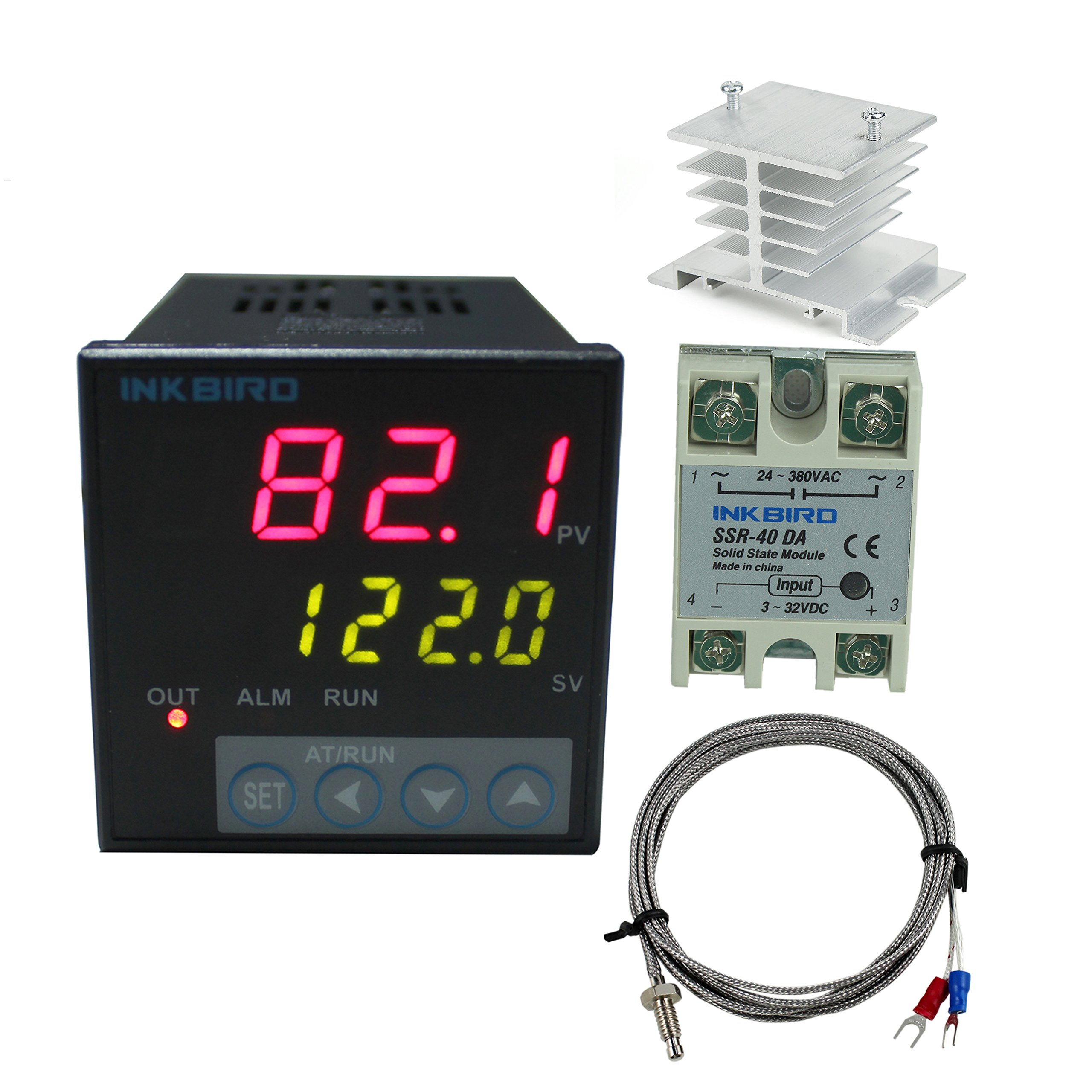 Inkbird F Display PID Temperature Controllers Thermostat ITC-106VH, K Sensor, Heat Sink and Solid State Relay, 100ACV - 240ACV (ITC-106VH + 40A SSR + White heat sink + K Probe) by Inkbird