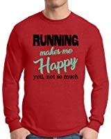 Awkward Styles Men's Running Makes Me Happy You Not So Much Graphic Long Sleeve T shirt Tops Cardio