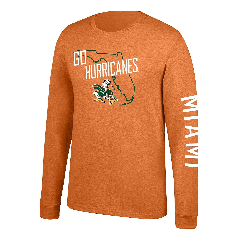 J America NCAA Mens Miami Hurricanes Classic Heather Long Sleeve Tee Orange XX-Large