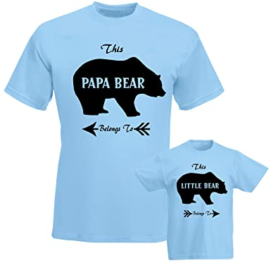 56783a164 SuperPraise Father Daddy Daughter Dad Son Matching T Shirts Papa Belongs to  Little Bear: Amazon.co.uk: Clothing