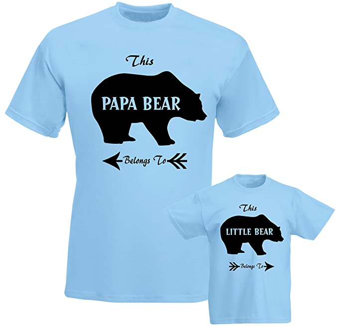 c20936ee0ca SuperPraise Father Daddy Daughter Dad Son Matching T Shirts Papa Belongs to Little  Bear  Amazon.co.uk  Clothing