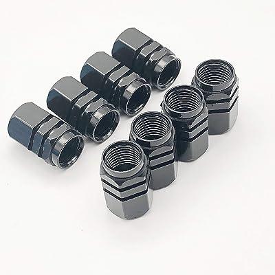 Szpinxi 8pcs Car SUV Bike Aluminum Tire Valve Stem Caps Covers Tyre Air Caps Airtight Cover Accessory (Black) (Black): Sports & Outdoors