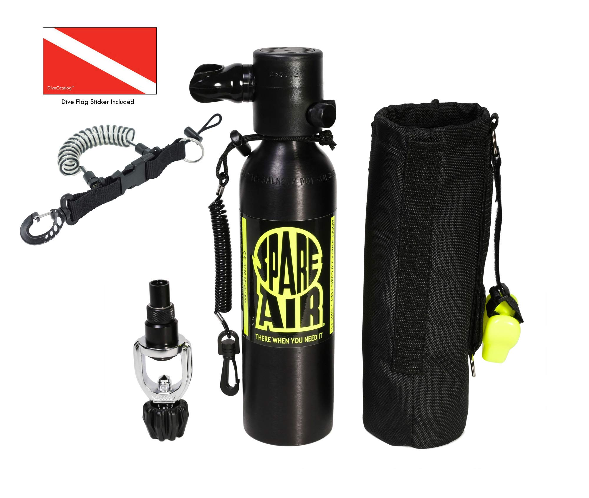 Submersible Systems Spare Air, 6.0 cu. ft. Package 600PK with DiveCatalog Coil Lanyard and Dive Flag Sticker